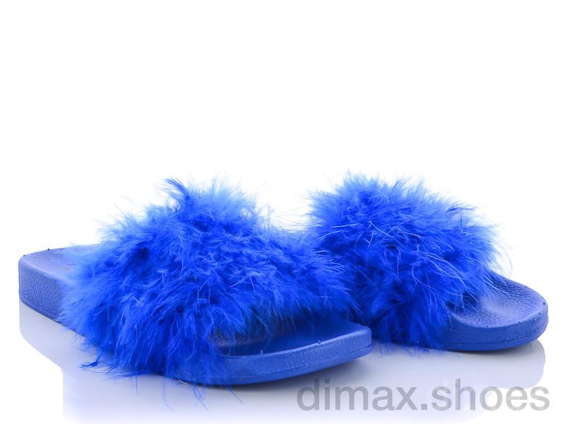 Diana HM002 шлеп. Марабу синие Шлепки