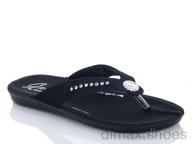 Selena 065-3 черный Шлепки